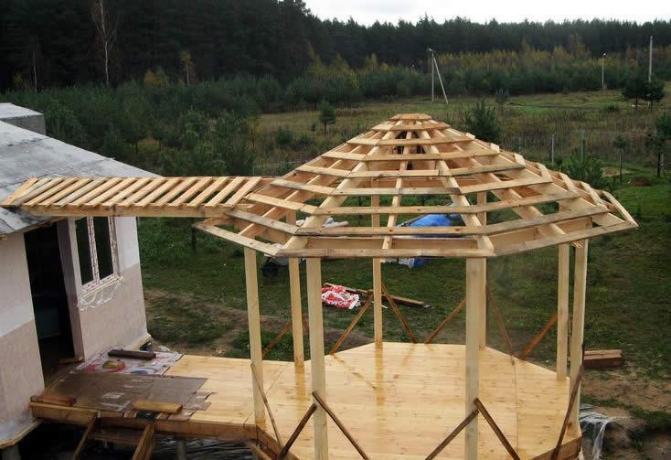Как сделать крышу для беседки фото 549