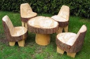 Набор садовой мебели из пней