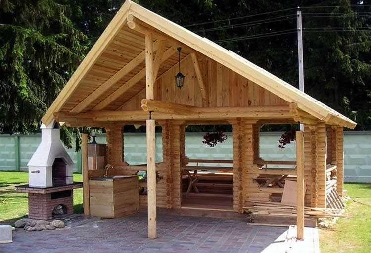 Проект навеса с двускатной крышей