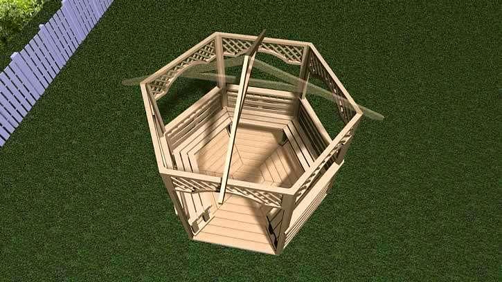 Сборка шестиугольной беседки