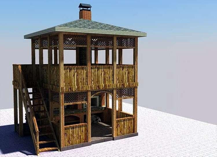Проект двухэтажной беседки с печным комплексом