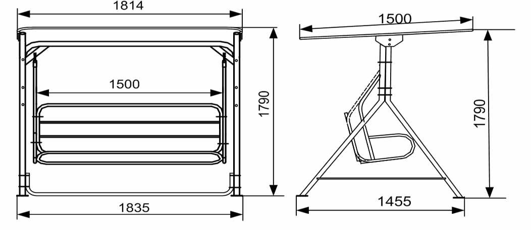 Схема размеров качели с навесом