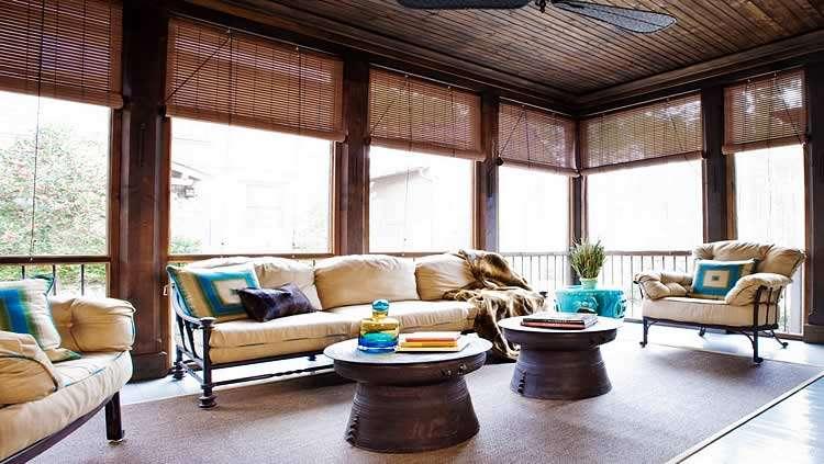 Рулонные шторы для веранды из бамбука