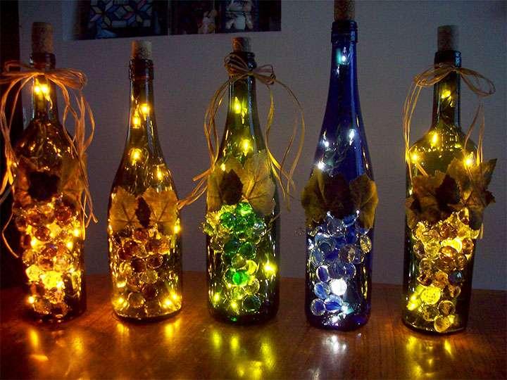 Декоративные светильники из бутылок