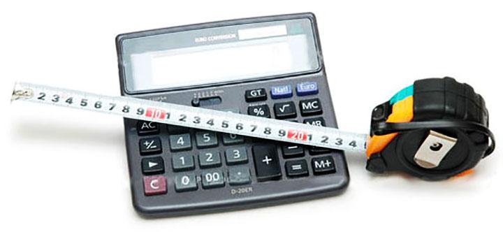 Калькулятор и рулетка