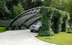 Навес из поликарбоната в ландшафтном дизайне