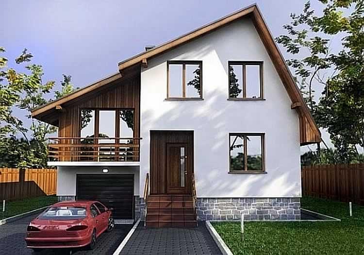 Двускатная крыша дома с разными скатами