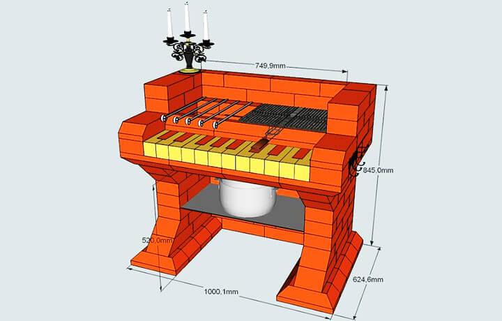Мангал в форме пианино