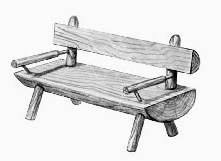 Эскиз скамейки из бревна