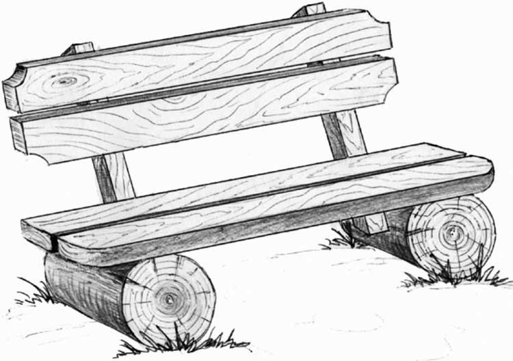 Эскиз скамейки из массива дерева