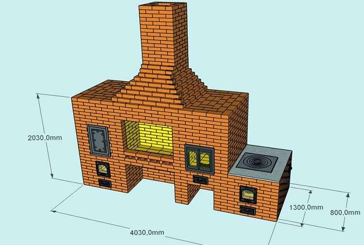 3D модель печного комплекса