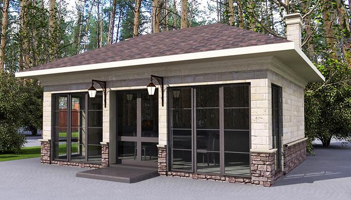 Летняя кухня на даче с барбекю и мангалом   фото