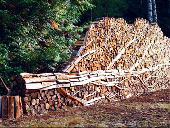 Укладка дров в виде дерева