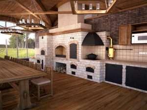 Дизайн-проект открытой кухни для частного дома
