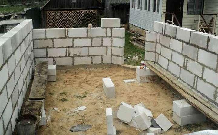 Возведение стен из пеноблока