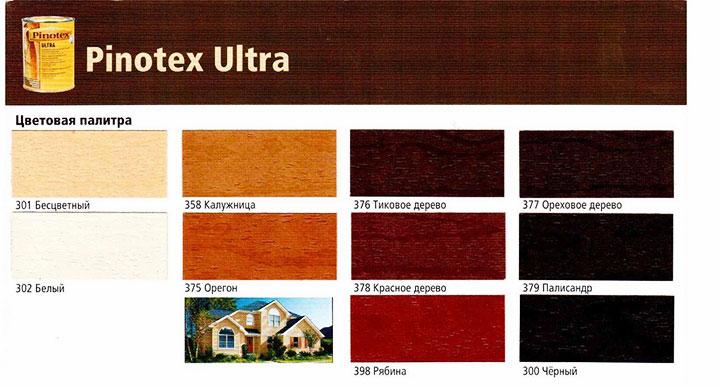 Цветовая политра Pinotex Ultra