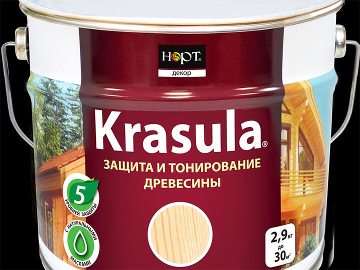 Биопиреновая пропитка для защиты и тонирования древесины «Krasula»