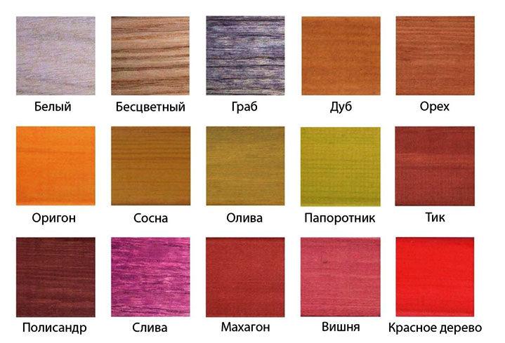 Цветовая палитра декоративных пропиток