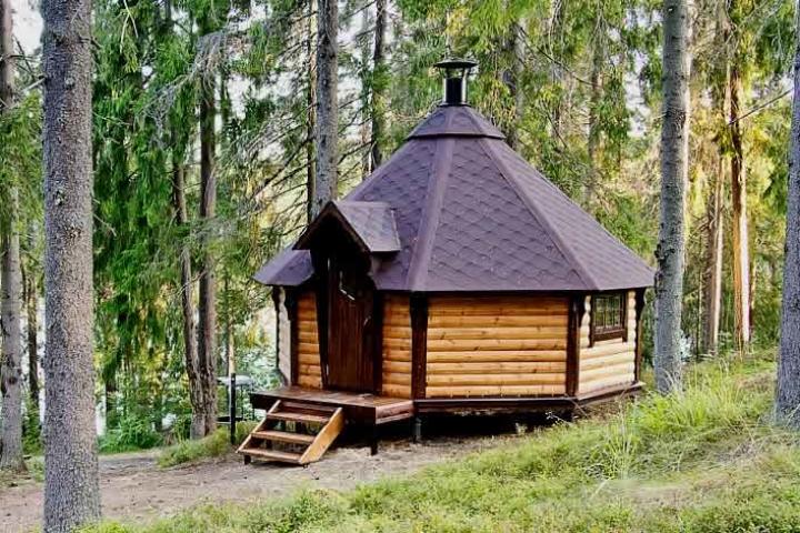 Финский домик в лесу