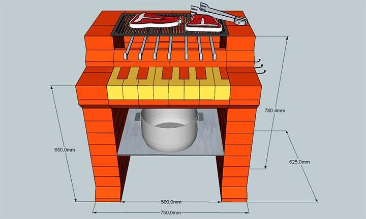 Схема мангала в форме пианино