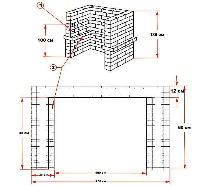 Схема простого кирпичного мангала