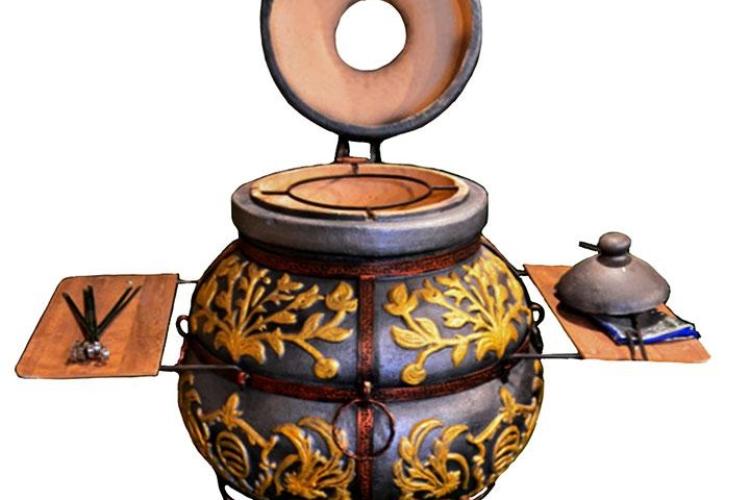Раскрашенная печь-тандыр